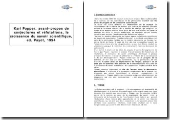 Karl Popper, avant-propos de Conjectures et réfutations, la croissance du savoir scientifique, éd. Payot, 1994