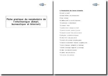 Vocabulaire de l'informatique anglais-français (email, bureautique et Internet)