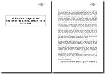 Les liaisons dangereuses, Choderlos de Laclos, extrait de la lettre 134