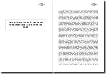 Les articles 38 et 51 de la loi fondamentale allemande de 1949