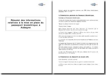 Résumé des informations relatives à la mise en place du passeport biométrique à Aubagne