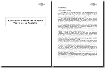 Explication linéaire de La Jeune Veuve de La Fontaine