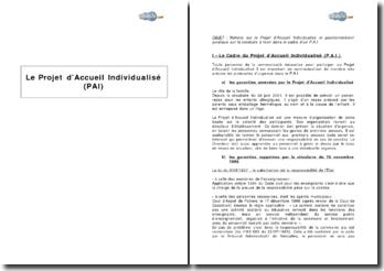 Le Projet d'Accueil Individualisé (PAI) dans le cadre scolaire