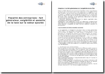 Fiscalite Des Entreprises Fait Generateur Exigibilite Et Assiette