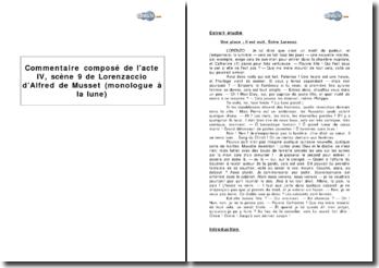 Acte IV, scène 9 de Lorenzaccio d'Alfred de Musset (monologue à la lune)