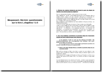 Maupassant, Bel-Ami : questionnaire sur le livre I, chapitres 1 à 5