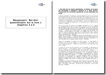 Maupassant, Bel-Ami : questionnaire sur le livre I, chapitres 6 à 8