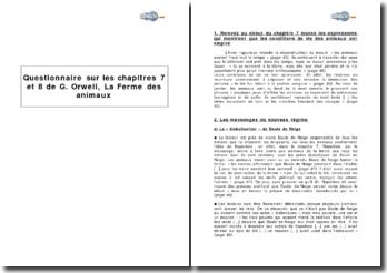 Questionnaire sur les chapitres 7 et 8 de George Orwell, La Ferme des animaux