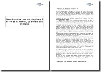 Questionnaire sur les chapitres 9 et 10 de G. Orwell, La Ferme des animaux