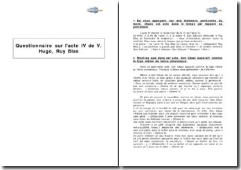 Questionnaire sur l'acte IV de Victore Hugo, Ruy Blas