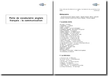 Fiche de vocabulaire anglais français : la communication