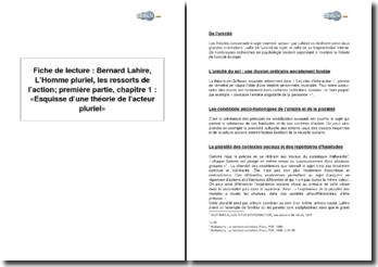 Bernard Lahire, L'Homme pluriel, les ressorts de l'action; première partie, chapitre 1 : « Esquisse d'une théorie de l'acteur pluriel »