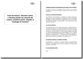 Bernard Lahire, L'Homme pluriel, les ressorts de l'action ; première partie, chapitre 3 : «Analogie et transfert»