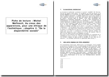 Michel Maffesoli, Au creux des apparences, pour une éthique de l'esthétique ; chapitre 2, De la disponibilité sociale