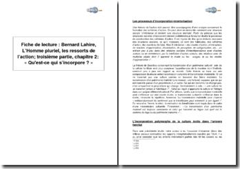 Bernard Lahire, L'Homme pluriel, les ressorts de l'action; troisième partie, chapitre 2 : « Qu'est ce qui s'incorpore ? »