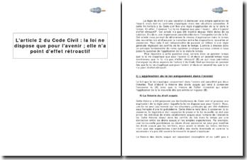 L'article 2 du Code Civil : la loi ne dispose que pour l'avenir, elle n'a point d'effet rétroactif