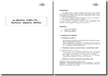 La détente (1963-1975) : facteurs, aspects, limites