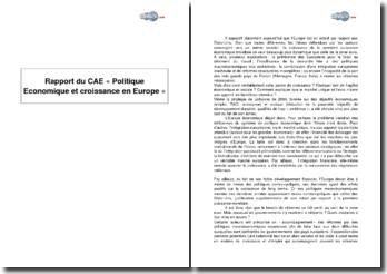 Rapport du Conseil d'Analyse Economique, « Politique Economique et croissance en Europe »