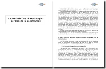 Le président de la République, gardien de la Constitution