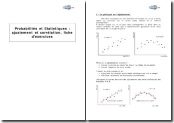 Probabilités et statistiques : ajustement et corrélation, fiche d'exercices