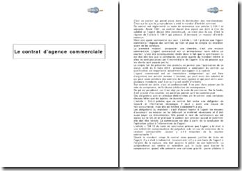 Le contrat d'agence commerciale