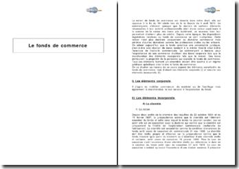 Le fonds de commerce - éléments corporels et incorporels