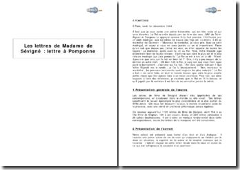 Les lettres de Madame de Sévigné : lettre à Pomponne
