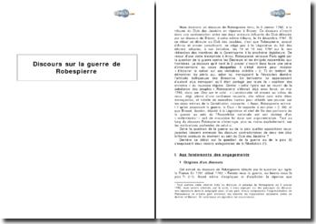Discours sur la guerre de Robespierre (janvier 1792)