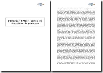 L'Etranger d'Albert Camus : le réquisitoire du procureur
