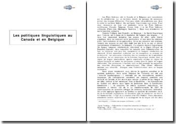 Les politiques linguistiques au Canada et en Belgique