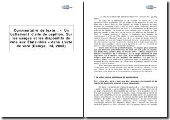 « Un battement d'aile de papillon. Sur les usages et les dispositifs de vote aux États-Unis » dans L'acte de vote (Deloye, Olivier Ihl, 2008)