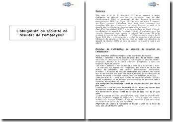 L'obligation de sécurité de résultat de l'employeur