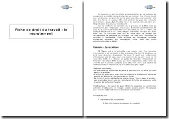 Méthodes de recrutement et nature juridique de la lettre d'embauche