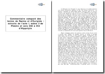 Commentaire comparé des textes de Racine et d'Euripide: extraits de l'acte I, scène 3 de Phèdre et vers 338 à 354 d'Hippolyte