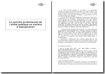 Le contrôle juridictionnel de l'utilité publique en matière d'expropriation