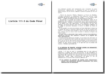 L'article 111-5 du Code Pénal