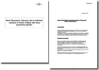 René Descartes, Discours de la méthode - analyse et étude critique des deux premières parties