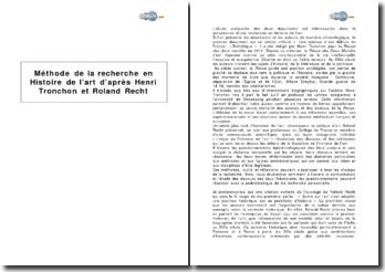 Méthode de la recherche en histoire de l'art, d'après Henri Tronchon et Roland Recht