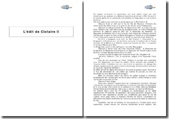L'édit de Clotaire II
