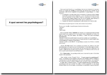 A quoi servent les psychologues? de Jean François Dortier