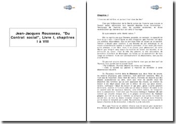 Jean-Jacques Rousseau, Du Contrat social, Livre I, chapitres I à VIII