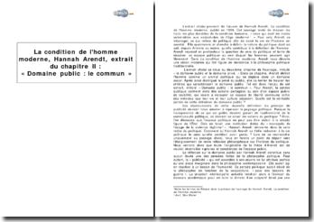 La condition de l'homme moderne, Hannah Arendt, extrait du chapitre II : « Domaine public : le commun »