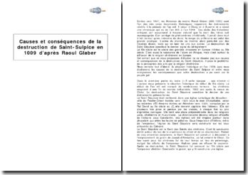 Causes et conséquences de la destruction de Saint-Sulpice en 1009 d'après Raoul Glaber
