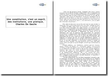 Une Constitution, c'est un esprit, des institutions, une pratique, Charles De Gaulle