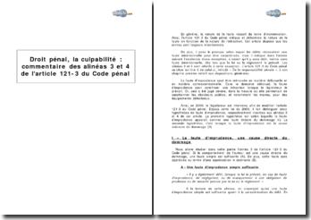La culpabilité: alinéas 3 et 4 de l'article 121-3 du Code pénal