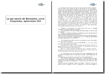 Le gai savoir de Nietzsche, Livre cinquième, aphorisme 354