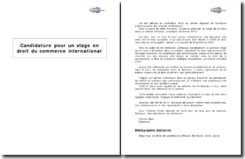 Candidature pour un stage en droit du commerce international
