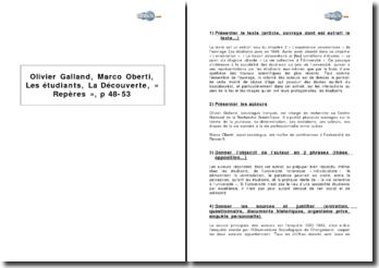 Olivier Galland, Marco Oberti, Les étudiants, La Découverte, coll. Repères, p 48-53