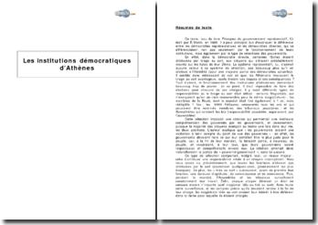 Les institutions démocratiques d'Athènes, d'après des extraits de Bernard Manin