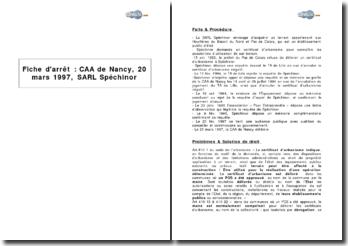 Cour d'appel administrative de Nancy, 20 mars 1997 - le refus de délivrance d'un certificat d'urbanisme